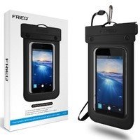 FRiEQ Floating Waterproof Case Bag for Outdoor Activities - Waterproof bag / Waterproof Life Pouch / Dry Bag for Apple iPhone 6, 5S, 5C, 5; Galaxy S6, S4, S3; HTC One X, Galaxy Note 3, Note 2; LG G2 - IPX8 Certified to 100 Feet (Black)