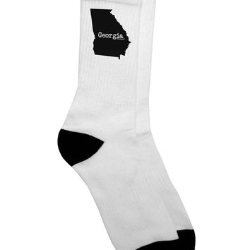 Georgia - United States Shape Adult Crew Socks - by TooLoud