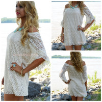 Nightinggale Taupe Crochet Open Shoulder Dress