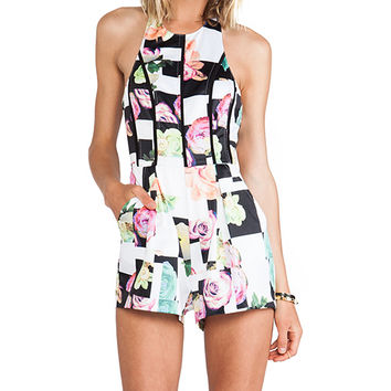 Minty Meets Munt Beth Playsuit in Black & White
