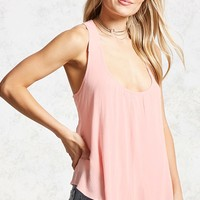 Tulip-Back Woven Tank Top