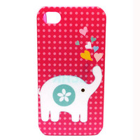 Pink Elephant Design Case for iPhone 4 4S