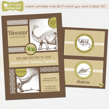 Printable dinosaur invitation, Dinosaurs birthday party nvitations for kids, Custom dino birthday invites + matching thank you card