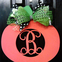 Monogrammed Wooden Pumpkin with Bow