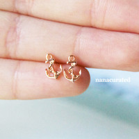Tiny RoseGold Anchor Stud Set, Stud Post,  Studs, Posts, Triangle Jewelry, Necklace,Minimal,HipsterTiny Pendant Studs, Earring Cuff, EarCuff