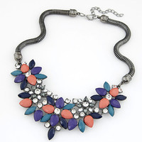 new bib collares jewelry 3 colors hot fashion crystal statement necklace flower maxi necklace collier femme 1254
