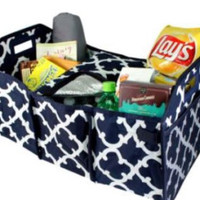 Navy Anchor Personalized Trunk Utility Bag with Insulated Cooler  Trunk Organizer  Car Organizer   Christmas Gift