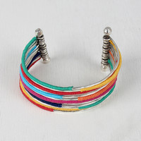 Hammered Wrapped Thread Cuff Bracelet