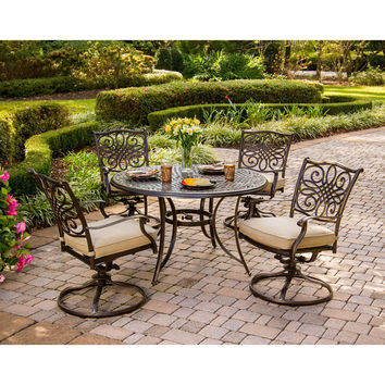 Traditions 5 Piece Dining Set in Brown with Cushions