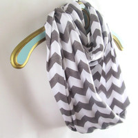 Infinite Gray Chevron Scarf soft -Jersey knit