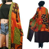 vintage 90s oversized grunge duster jacket maxi dress kimono jacket festival soft grunge patchwork medium