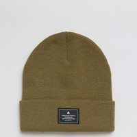 ASOS Patch Beanie In Olive at asos.com