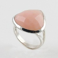 Pink Opal Faceted Fancy Cut Sterling Silver Ring