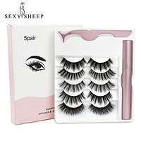 5 Pairs Magnetic Eyelashes Natural Long False Eyelashes Tweezer Set