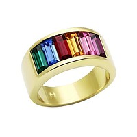 Chroma - Gold Plated Stainless Steel Ring With Rainbow Hue Stones