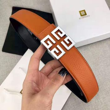 GIVENCHY Classic Popular Men Woman Smooth Buckle Belt Leather Belt