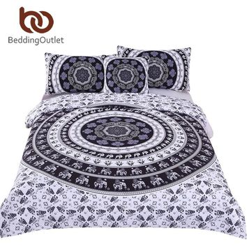 BeddingOutlet Bohemia Bedding Set Vanitas Modern Bedclothes Indian Home Black and White Printed Quilt Cover with Pioowcases 4Pcs
