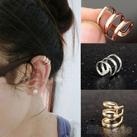deals] Punk Rock Ear Clip Cuff Wrap Earrings No piercing-Clip On Silver Gold Bronze = 6045040135
