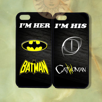 Batman and Catwoman Couple Cases iPhone 5 , 5s, 5c,4s, 4,Ipod touch 5, Samsung GS3, GS4-Silicone Rubber or Hard Plastic Case, Phone cover