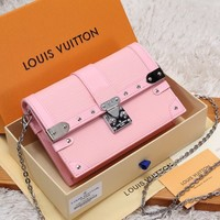 HCXX 19June 517 Louis Vuitton LV Trunk Chain Wallet Metal studs S-Lock Handbag 19-12.5-3.5 pink