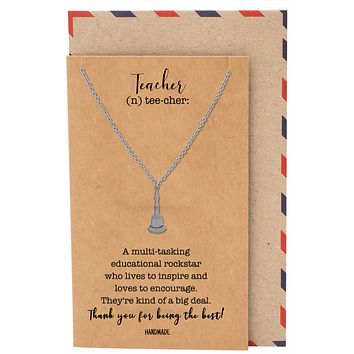 De La Salle School Bell Necklace, Gifts for Teachers with Greeting Card