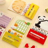 1X Cute Kawaii Cartoon Panda Bird Cat Self-Adhesive Memo Pads Sticky Notes Marker og Page Decor School Office Supply