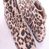 LEOPARD PRINT FAUX SUEDE LACE UP FLAT ANKLE BOOTIES