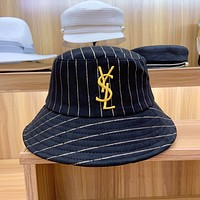 """YSL Yves Saint Laurent"" All-match Fashion Stripe Gold Letter Embroidery Fisherman Hat Bucket Hat Women Casual Sun Cap"