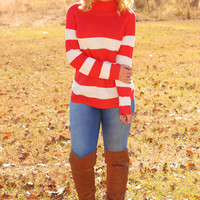 Crash Into Me Sweater: Coral/Ivory