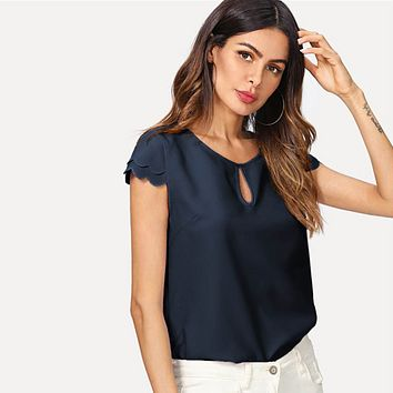 Round Neck Layered Scallop Cap Sleeve Blouse Top Women Plain Office Lady Casual Tops Blouses