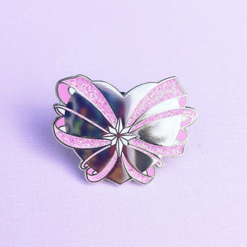 Magical Girl Heart Transformation Hard Enamel Glitter Lapel Pin - Limited Edition run of 50