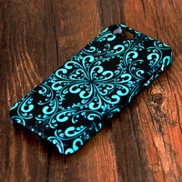 Elegant Green and Black Floral Pattern iPhone 6s Plus/6/5S/5C/5/4S/4 Protective Case 296