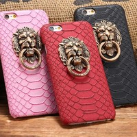 Lion Head Metal Ring Case For Iphone