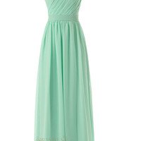 Delicated Ruched One-shoulder Mint Chiffon Floor Length Bridesmaid Dress Am55