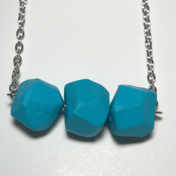 Geometric teal clay bead necklace