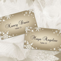 DIY Printable Wedding Place Name Card Template | Editable MS Word file | 3.5 x 2| Instant Download | Winter White Snowflakes Champagne Gold