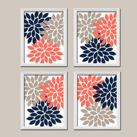 Coral Navy Beige Wall Art Canvas Artwork Flower Petals Dahlia Bloom Burst Set of 4 Prints Bedroom Decor Floral