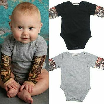 Newborn Baby Boy Long Tattoo Sleeve Romper Cotton Clothes Infant Jumpsuit Outfit