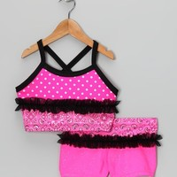Hot Pink Rainbow Polka Dot Crop Top & Shorts - Toddler & Girls