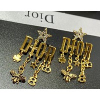 Dior retro white stud earrings alphabet tassel earrings hypoallergenic earrings