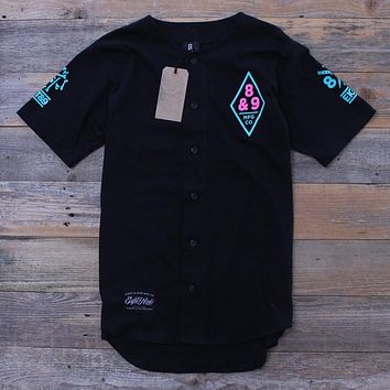 Ocho Y Nueve Black Cotton Baseball Jersey