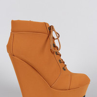 Bamboo Oxford Round Toe Lace Up Platform Wedge Booties