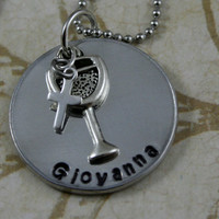 """Customized Personalized Hand Stamped """"First Communion"""" Necklace"""