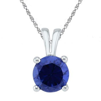 10kt White Gold Womens Round Lab-Created Blue Sapphire Solitaire Pendant 1-1-3 Cttw