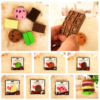 Kawaii Squishy Tag Toys Crack Chocolate Bar Biscuit Cracker Sound Collection Gift Decor Toy