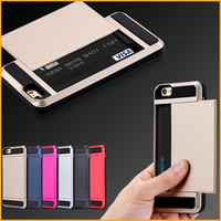2017 Hot Armor Slide Credit Card Slot Case For iPhone 6S 6Plus SE 5 5S Cellphone Wallet Shockproof Hard PC+TPU Cover Shell XY878