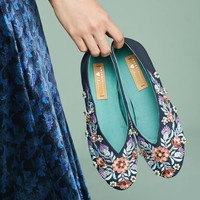 Llani x Anthropologie Embellished Satin Ballet Slippers