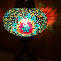 Turkish handmade unique decorative authentic table lamp, bedroom night lamp, living room corner lamp, kids bedroom lamp.