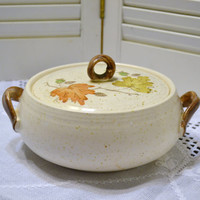 Vintage Metlox Poppytrail Woodland Gold Serving Bowl Covered Casserole Orange Yellow Brown Panchosporch