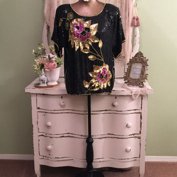 UNIQUE Sequin Top, Bold Pink & Gold Flowers, Sequined Blouse, Pretty Party Top, Elegant Blouse, Black Sequin Top, Beaded Blouse, Free Size